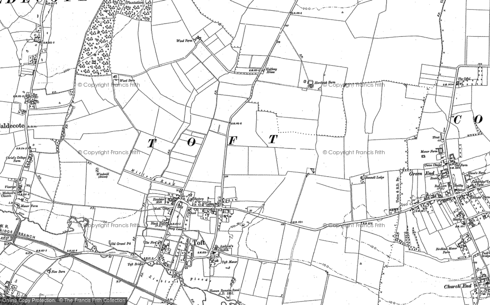 Old Map of Toft, 1886 in 1886