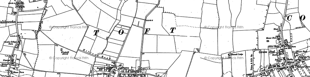Old map of Toft in 1886