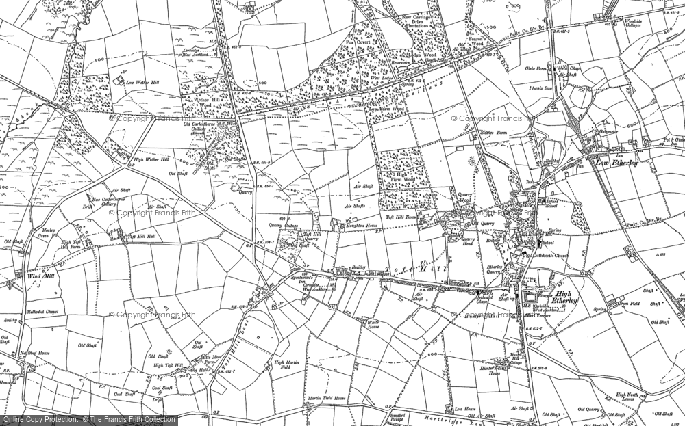 Old Map of Toft Hill, 1896 in 1896
