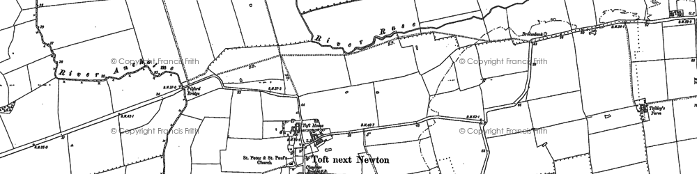 Old map of Toft next Newton in 1885