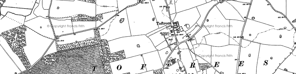 Old map of Toftrees in 1885