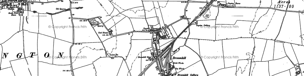 Old map of Togston Barns in 1896