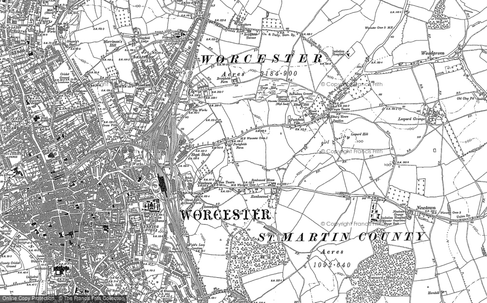 Old Map of Tolladine, 1884 in 1884