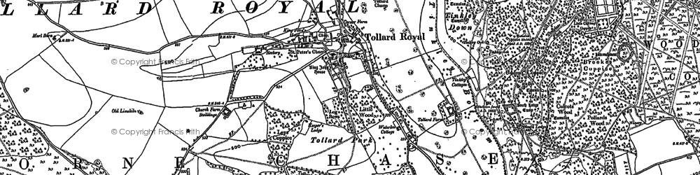 Old map of Tollard Royal in 1924