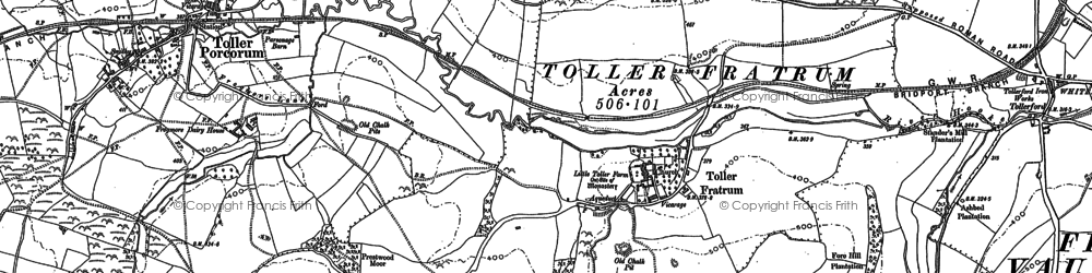 Old map of Toller Fratrum in 1886