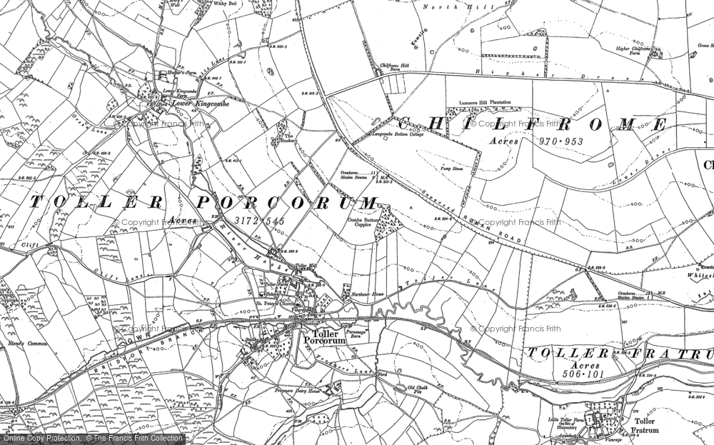 Old Map of Toller Porcorum, 1887 in 1887