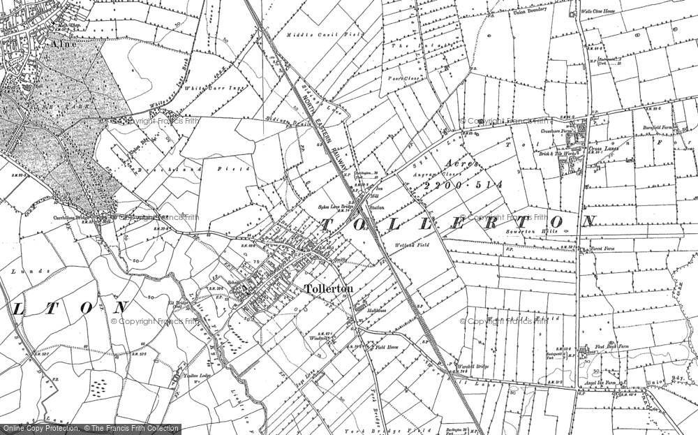 Old Map of Historic Map covering Linton Woods in 1891