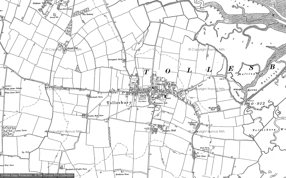 Old Map of Historic Map covering Tollesbury Fleet in 1886