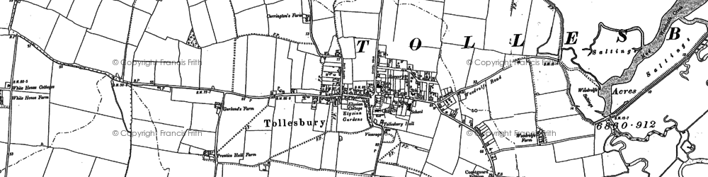 Old map of Tollesbury Wick Marshes in 1886