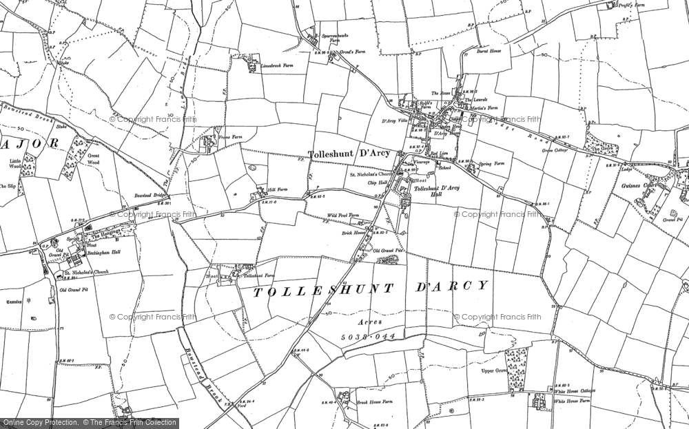 Old Map of Tolleshunt D'Arcy, 1895 in 1895