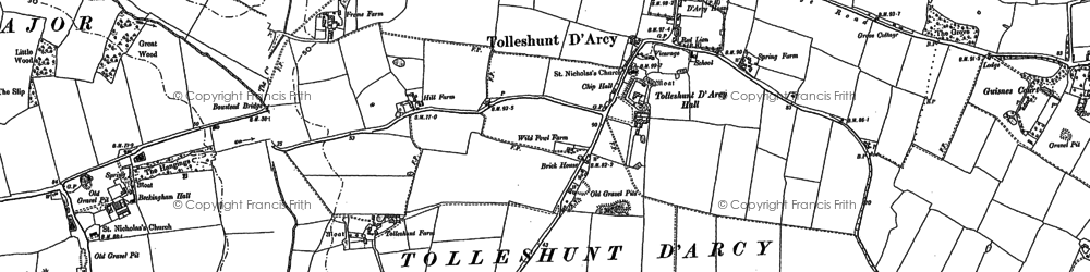 Old map of Tolleshunt D'Arcy in 1895