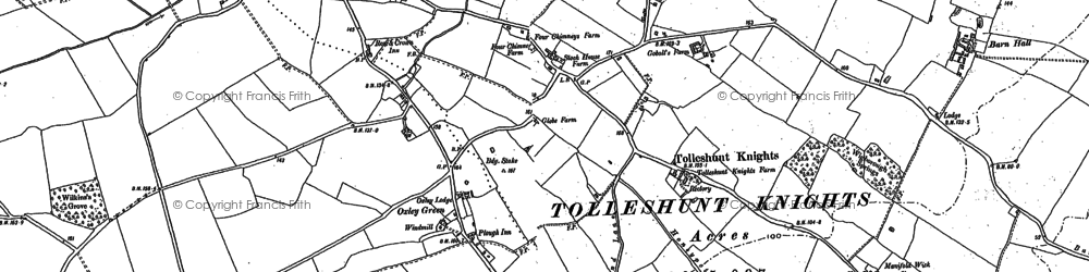 Old map of Tolleshunt Knights in 1895