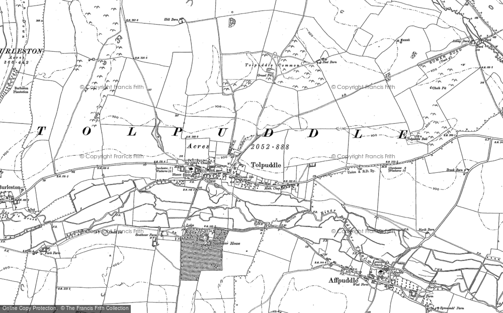 Old Map of Tolpuddle, 1885 in 1885