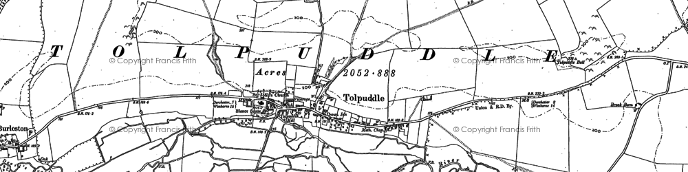 Old map of Tolpuddle in 1885