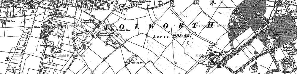 Old map of Tolworth in 1894