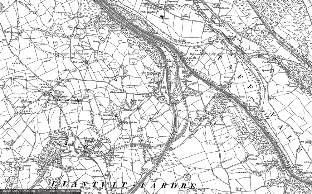 Old Map of Historic Map covering Tonteg in 1897