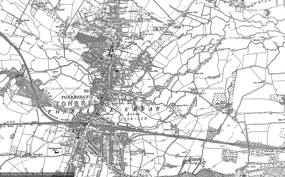 Old Map of Tonbridge, 1895 in 1895
