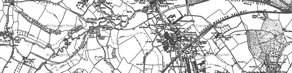 Old map of Tonedale in 1887