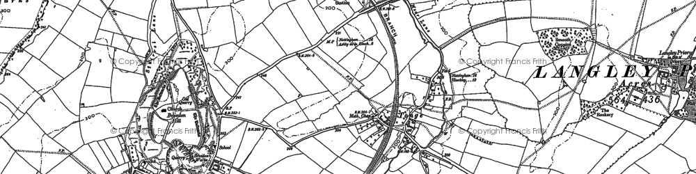 Old map of Langley Priory in 1901