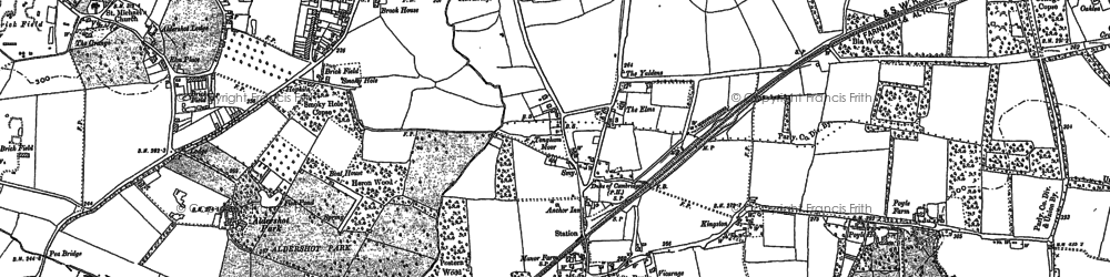 Old map of Tongham in 1913