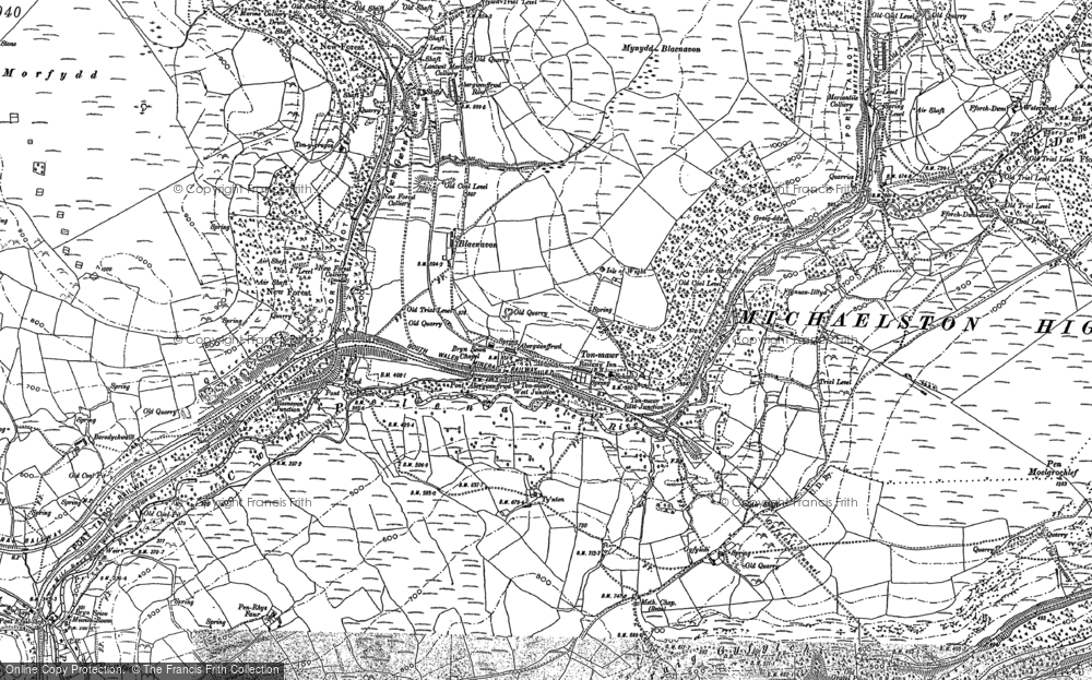Old Map of Historic Map covering Afon Pelenna in 1875