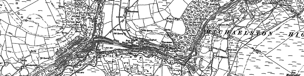 Old map of Afon Pelenna in 1875