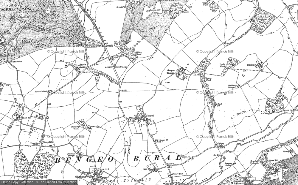 Old Map of Tonwell, 1897 in 1897