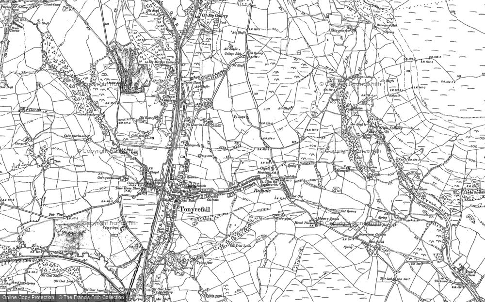 Map of Tonyrefail, 1898