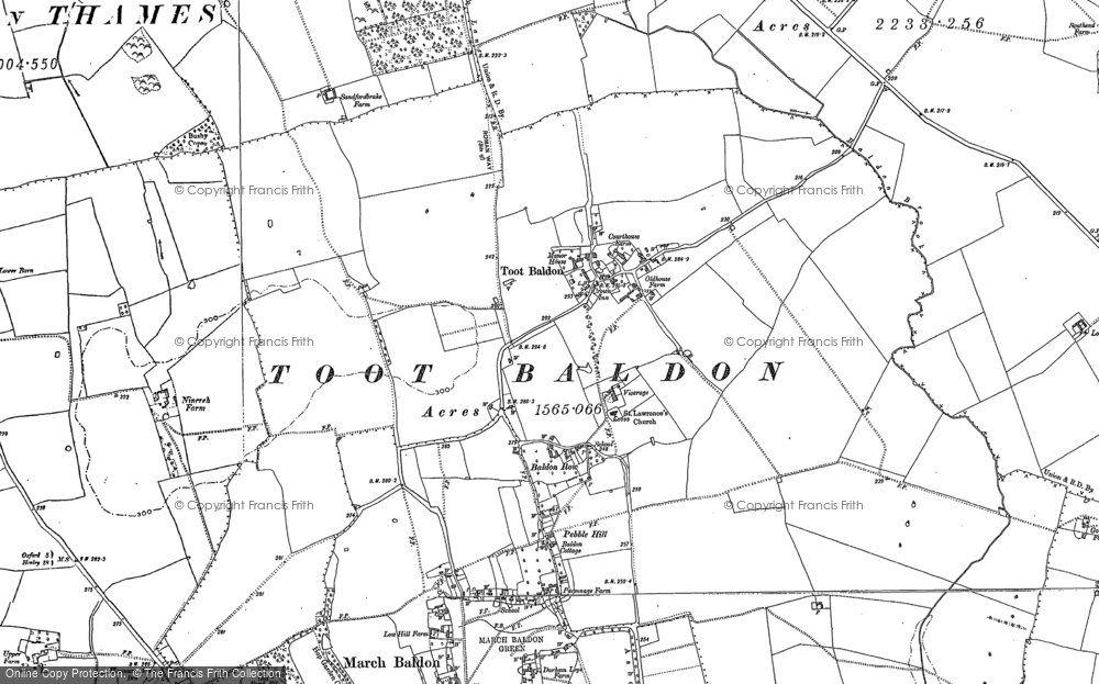 Old Map of Toot Baldon, 1897 - 1911 in 1897
