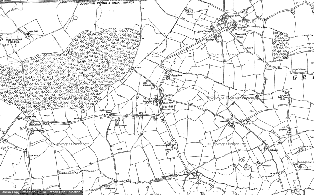 Old Map of Historic Map covering Woodhatch in 1895