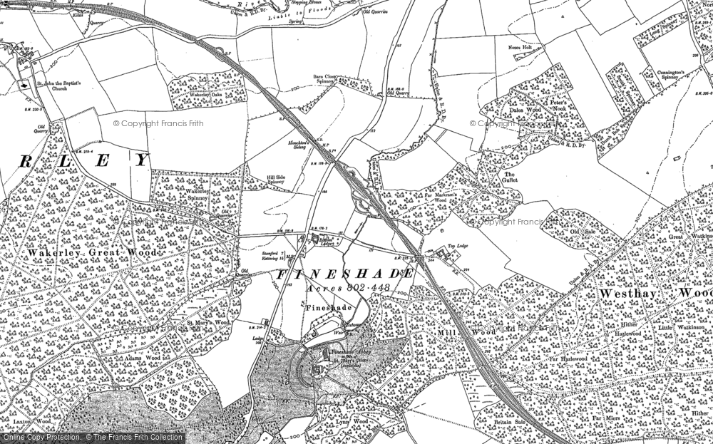 Old Map of Historic Map covering Adams Wood in 1899