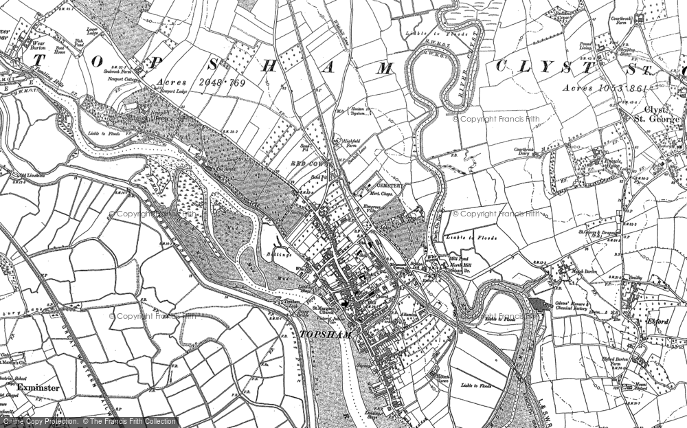 Map of Topsham, 1887 - 1888