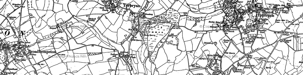 Old map of Torbryan in 1886
