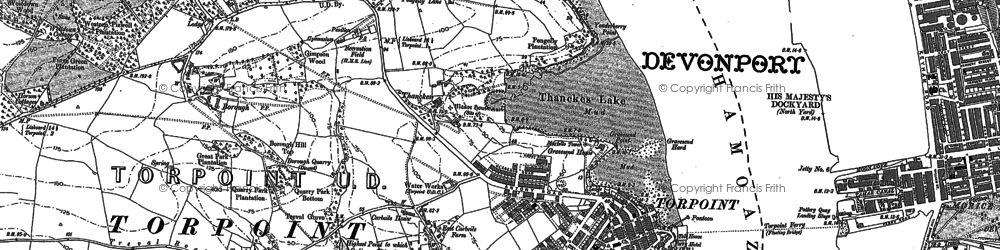 Old map of Torpoint in 1883
