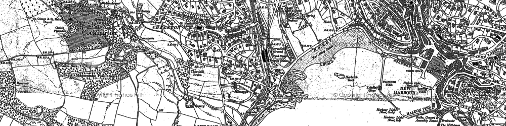 Old map of Torre Abbey in 1904