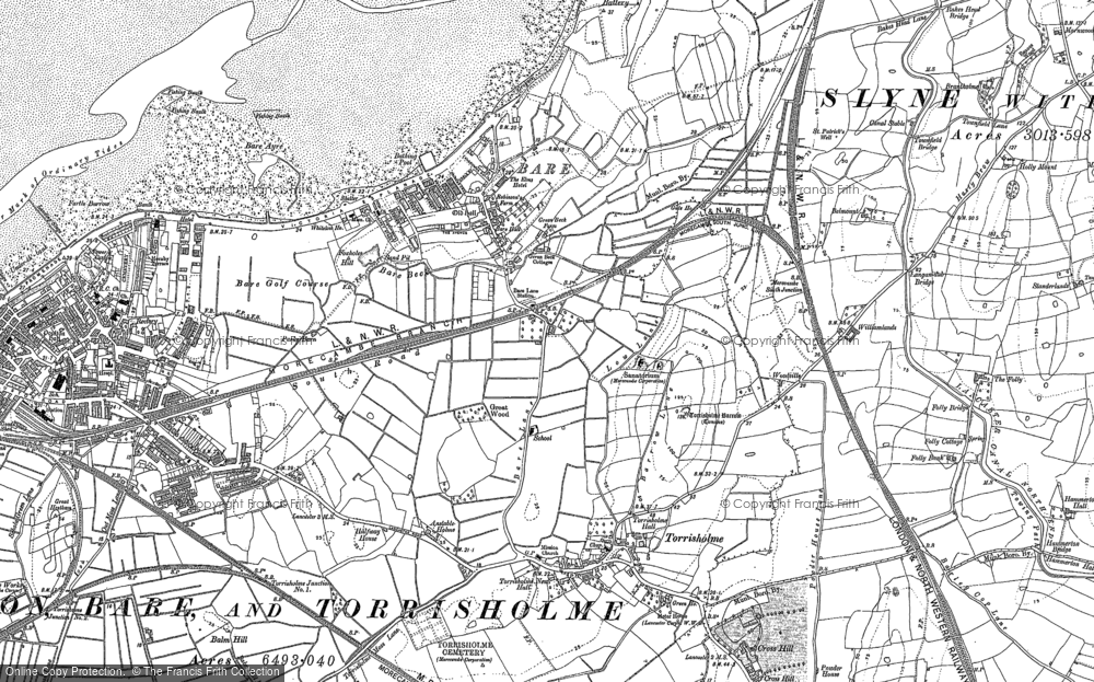 Old Map of Historic Map covering Bare Lane Sta in 1910