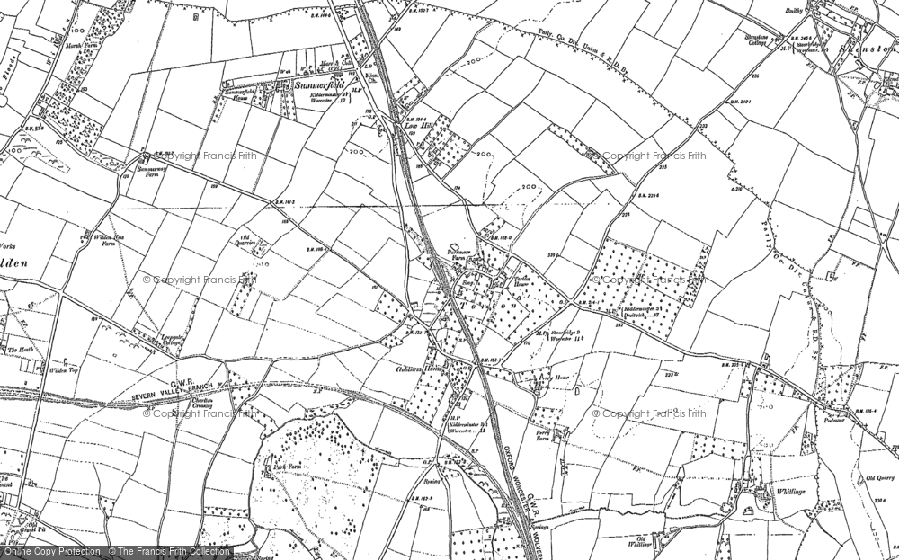 Old Map of Historic Map covering Whitlenge Ho in 1883