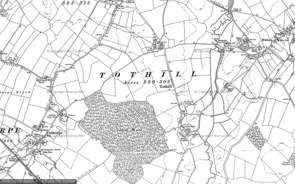 Old Map of Historic Map covering Toot Hill in 1887