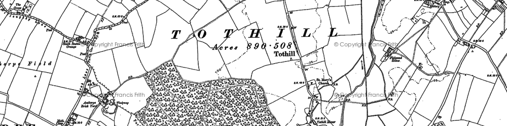 Old map of Toot Hill (Motte and Bailey) in 1887