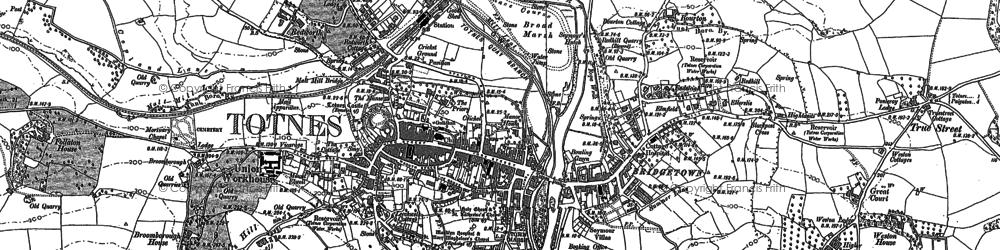 Old map of Totnes in 1887