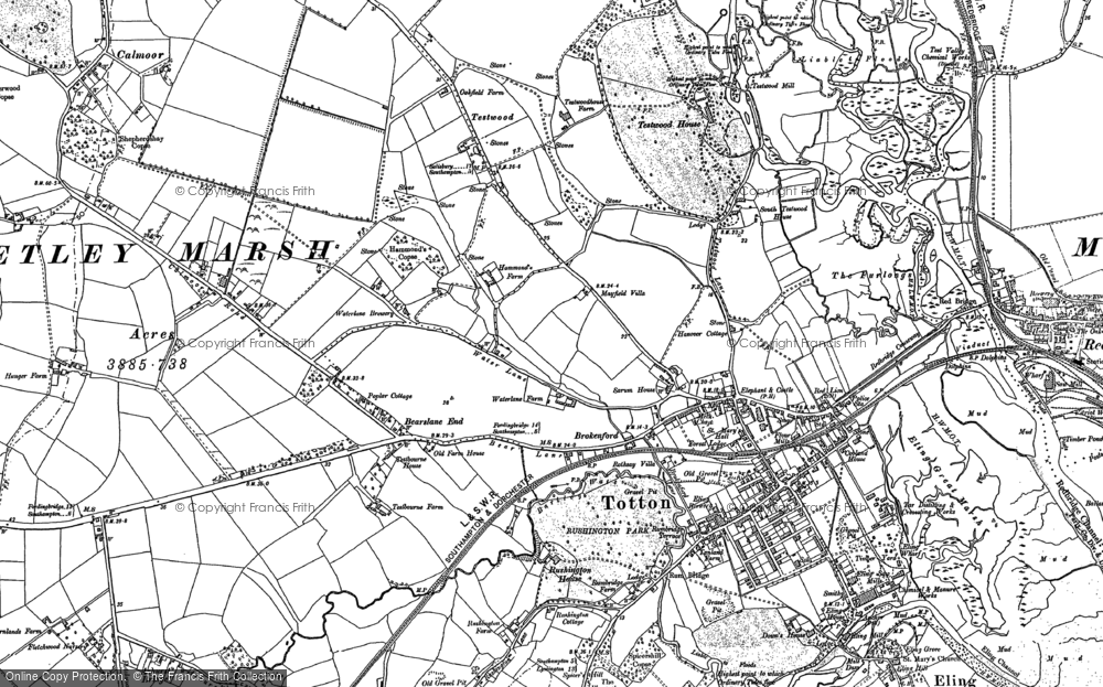 Old Map of Historic Map covering Ashurst Bridge in 1895