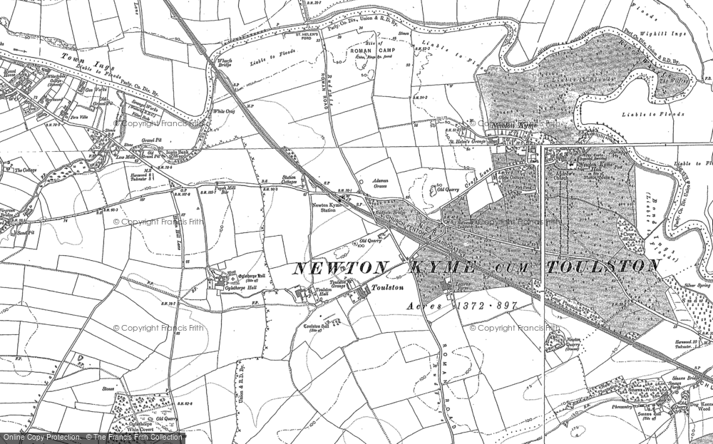 Old Map of Toulston, 1890 - 1891 in 1890