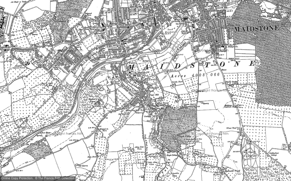 Old Map of Historic Map covering Abbey Gate Place in 1867
