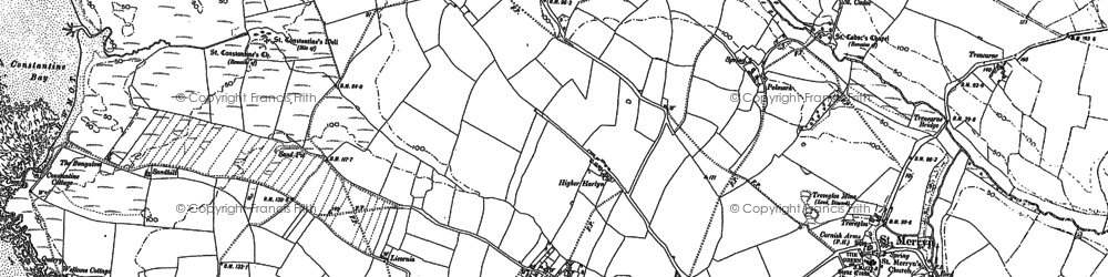 Old map of Towan in 1880