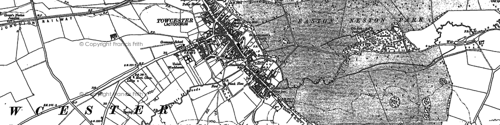 Old map of Towcester in 1883