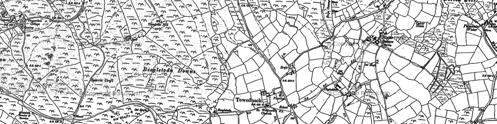 Old map of Towednack in 1877