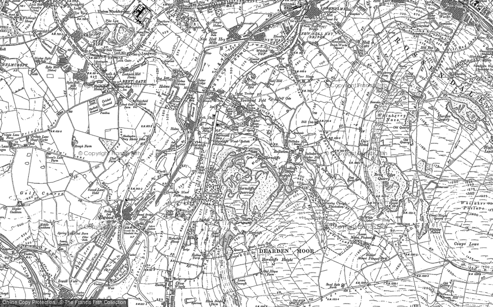 Old Map of Historic Map covering Balladen in 1891