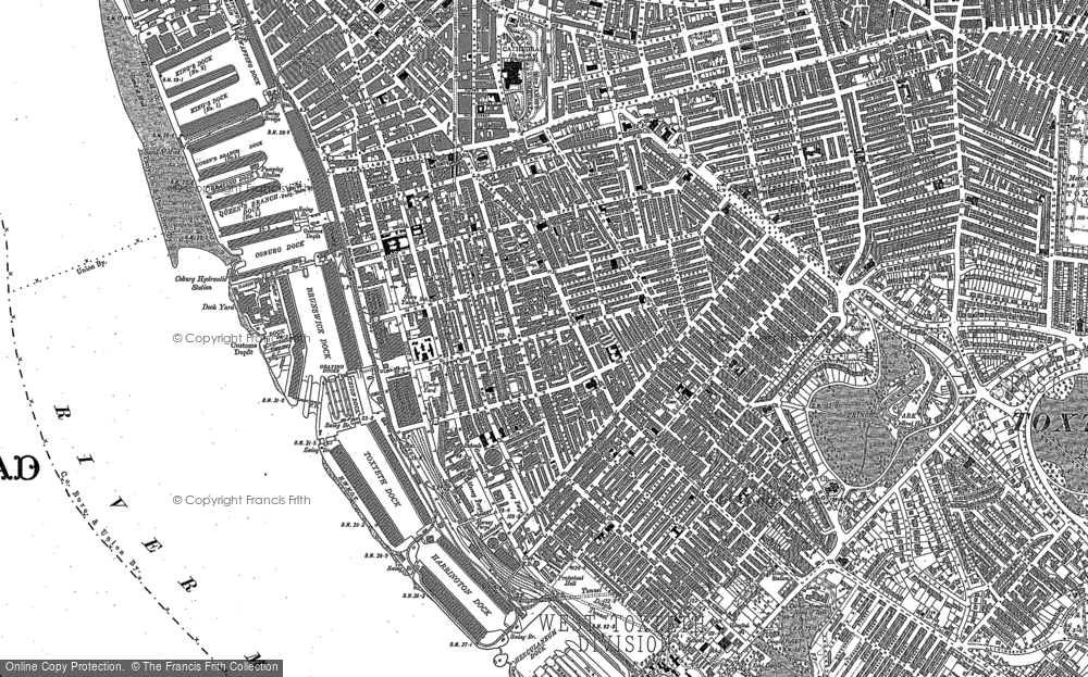 Old Map of Historic Map covering Albert Dock in 1905