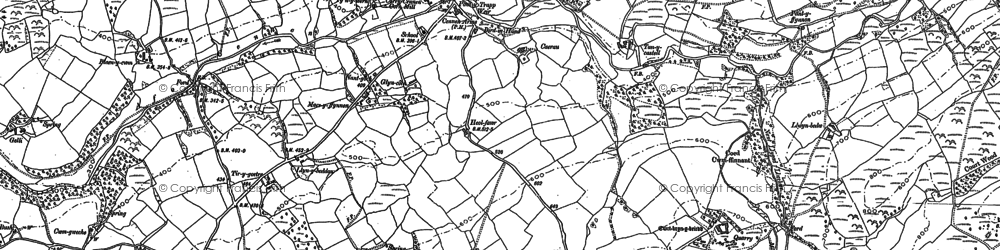 Old map of Afon Cennen in 1877