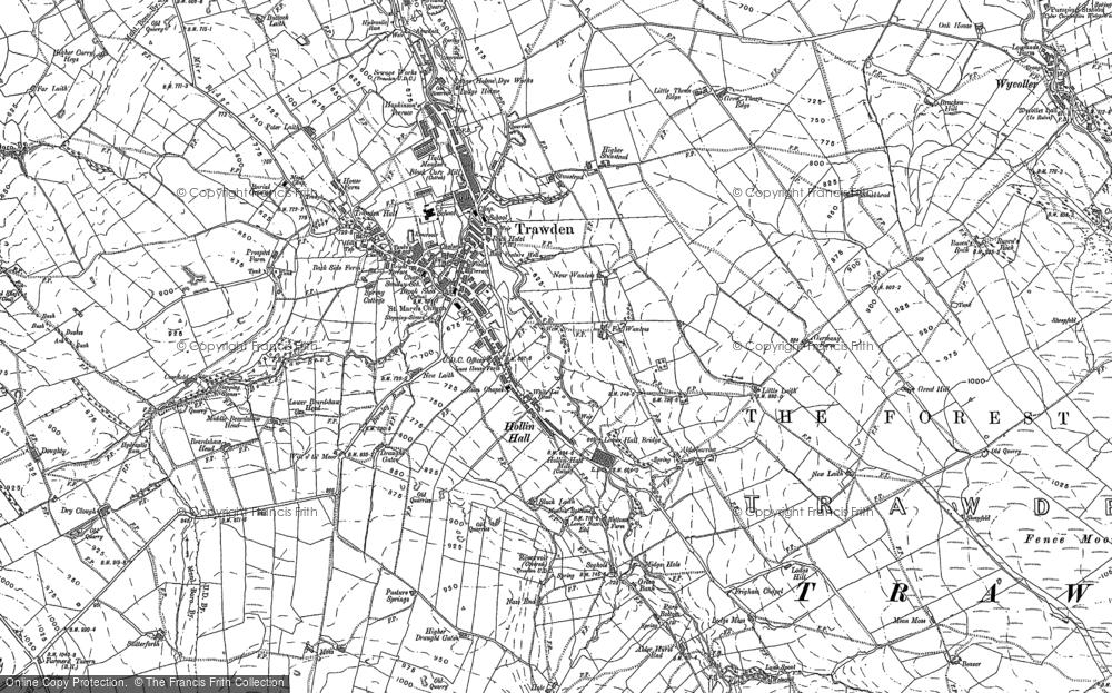 Old Map of Historic Map covering Alder Hurst in 1891